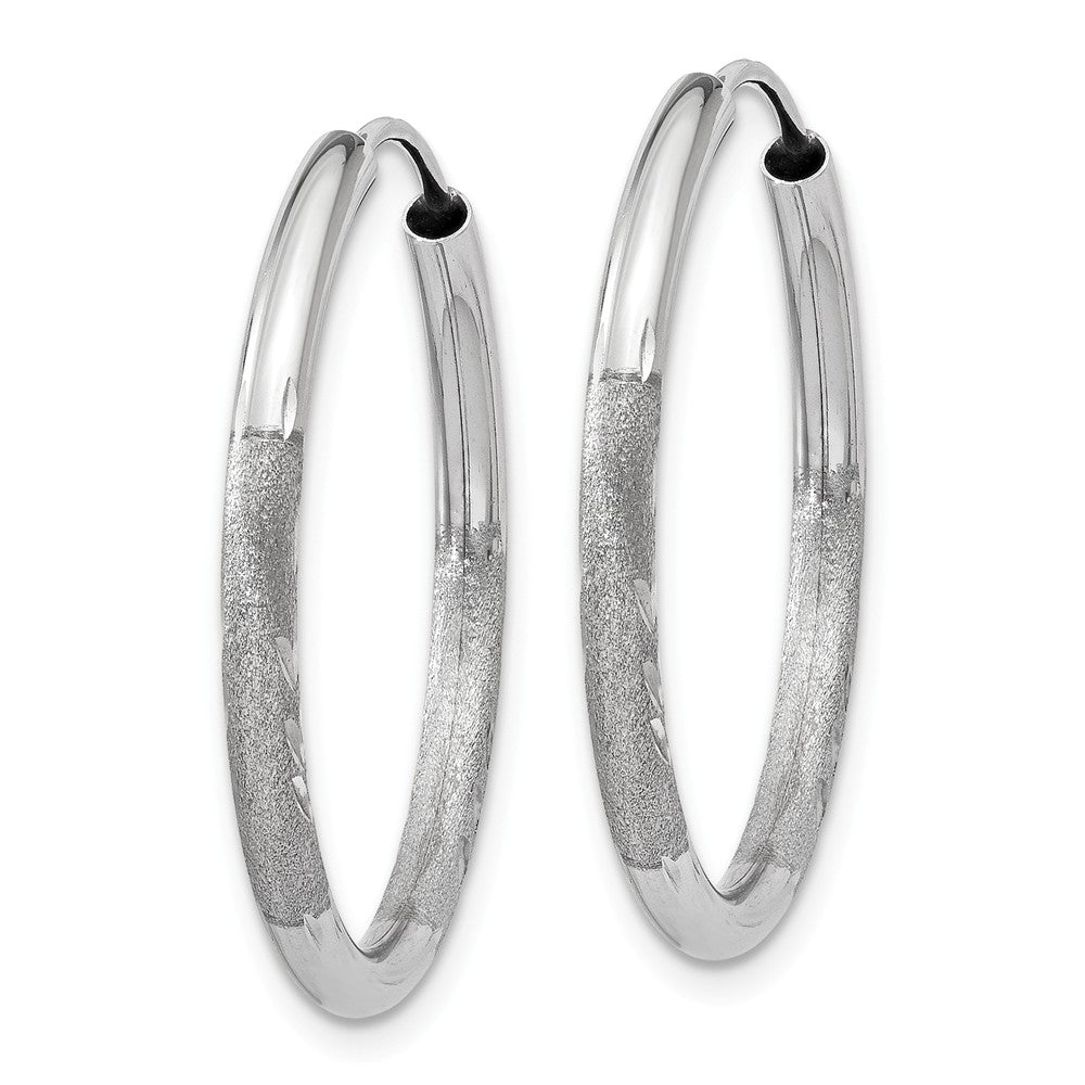 Alternate view of the 2mm, 14k White Gold, Diamond-cut Endless Hoops, 25mm (1 Inch) by The Black Bow Jewelry Co.