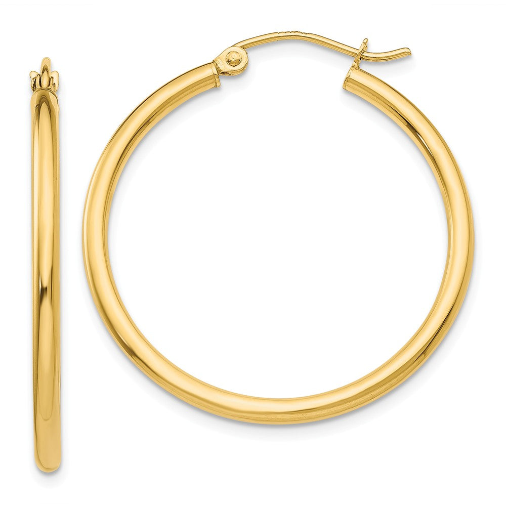 2mm, 14k Yellow Gold Classic Round Hoop Earrings, 30mm (1 1/8 Inch), Item E9388-30 by The Black Bow Jewelry Co.