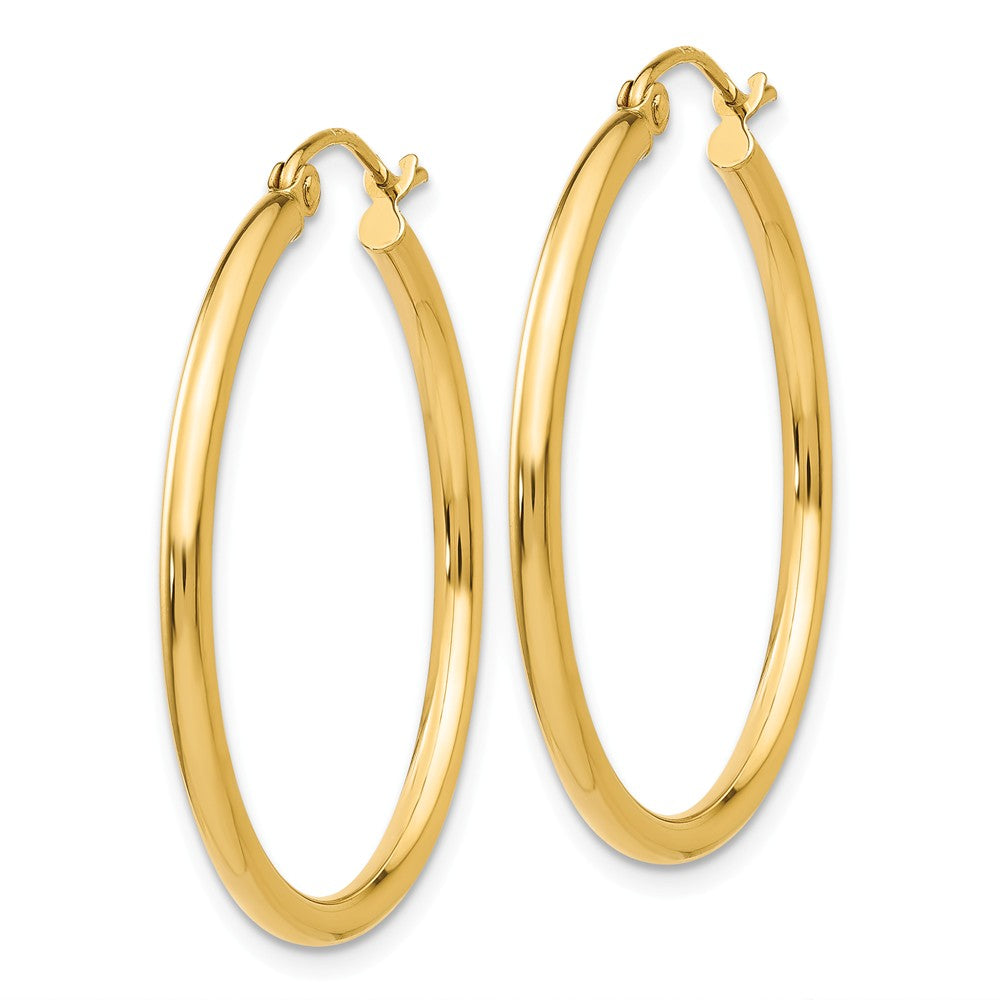 Alternate view of the 2mm, 14k Yellow Gold Classic Round Hoop Earrings, 30mm (1 1/8 Inch) by The Black Bow Jewelry Co.