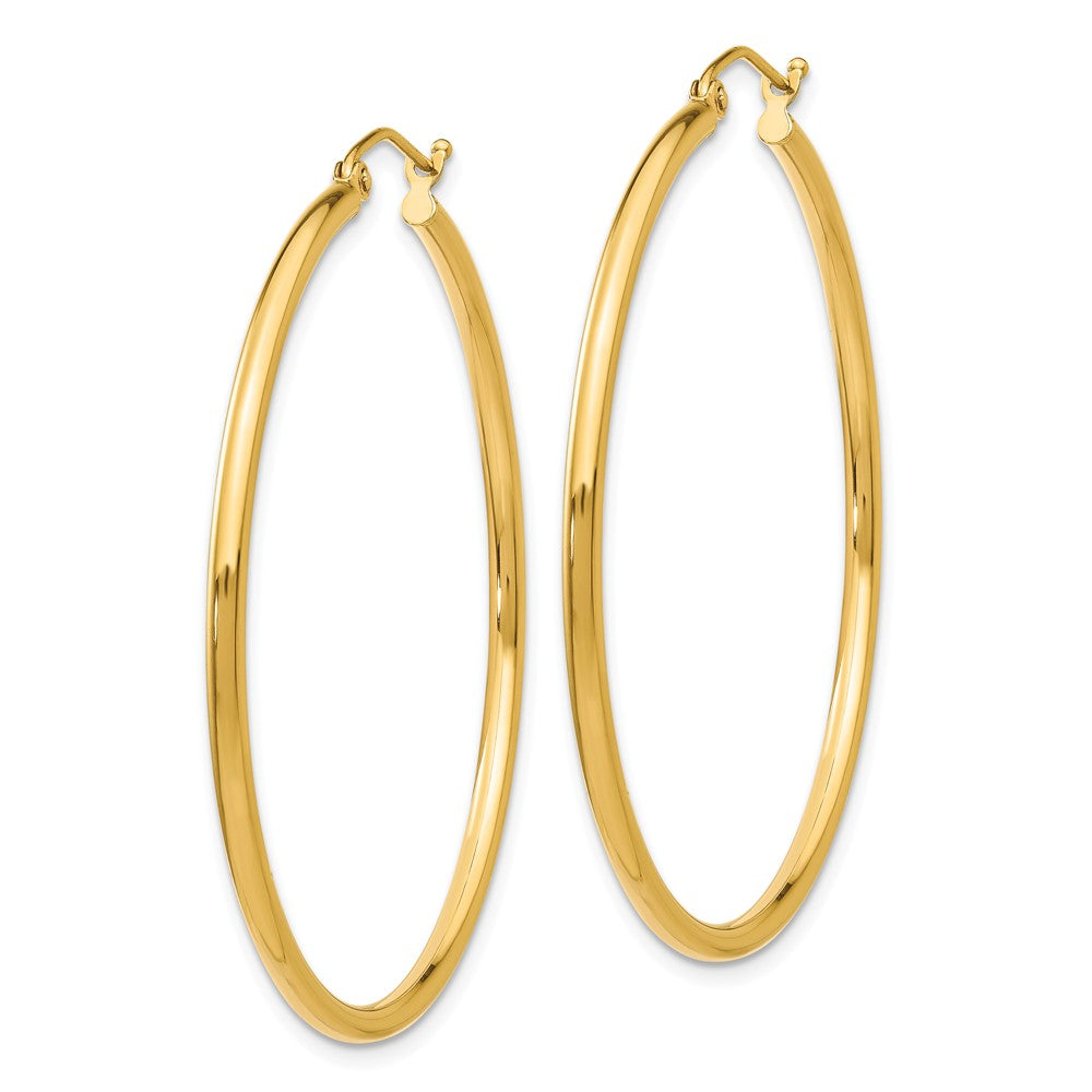 Alternate view of the 2mm, 14k Yellow Gold Classic Round Hoop Earrings, 45mm (1 3/4 Inch) by The Black Bow Jewelry Co.