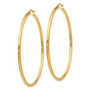 Alternate view of the 2mm, 14k Yellow Gold Classic Round Hoop Earrings, 55mm (2 1/8 Inch) by The Black Bow Jewelry Co.