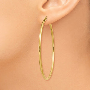 2mm, 14k Yellow Gold Classic Round Hoop Earrings, 55mm (2 1/8 Inch)