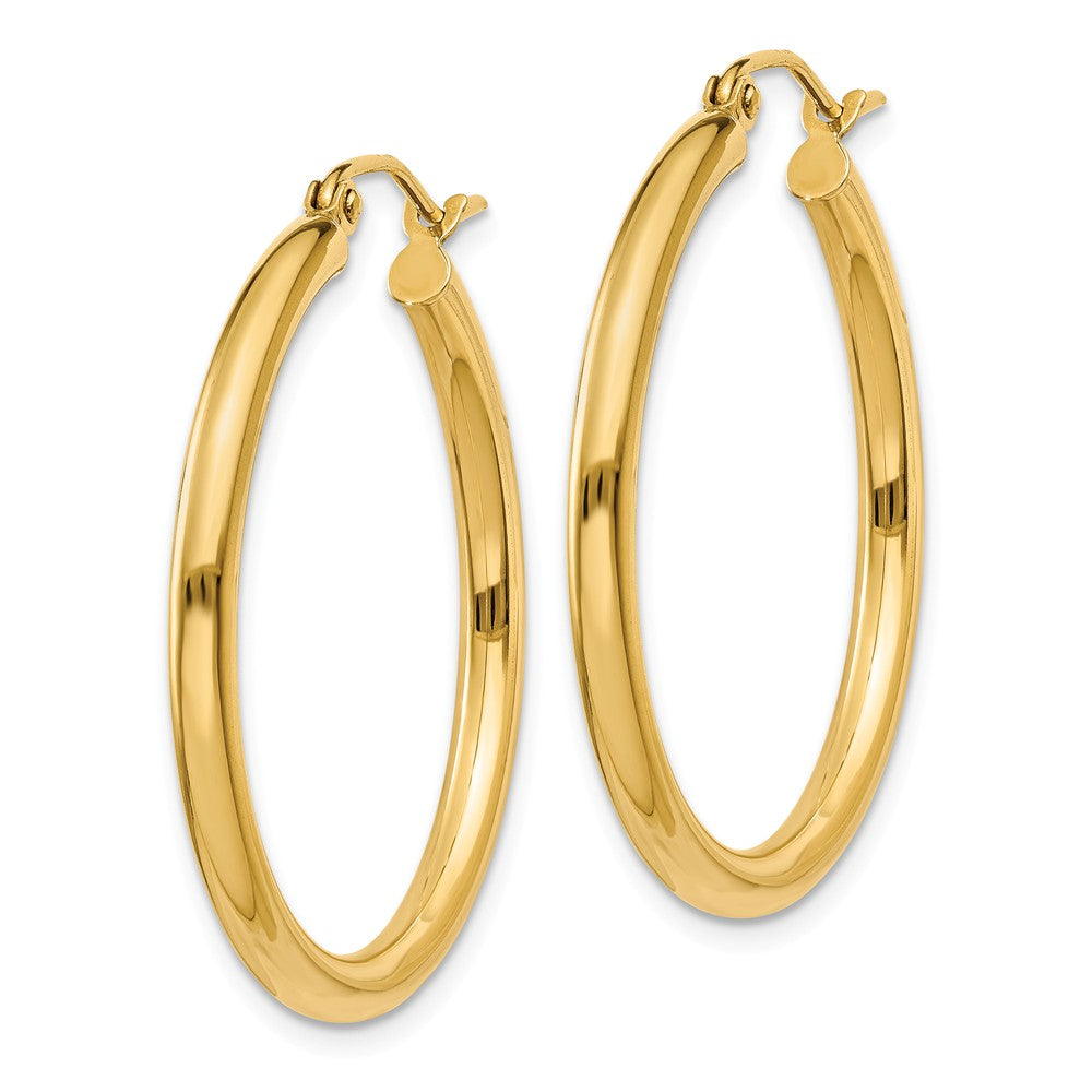 Alternate view of the 2.5mm, 14k Yellow Gold Classic Round Hoop Earrings, 30mm (1 1/8 Inch) by The Black Bow Jewelry Co.