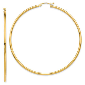 2.5mm, 14k Yellow Gold Classic Round Hoop Earrings, 65mm (2 1/2 Inch) - The Black Bow Jewelry Co.