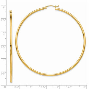 2.5mm, 14k Yellow Gold Classic Round Hoop Earrings, 65mm (2 1/2 Inch)