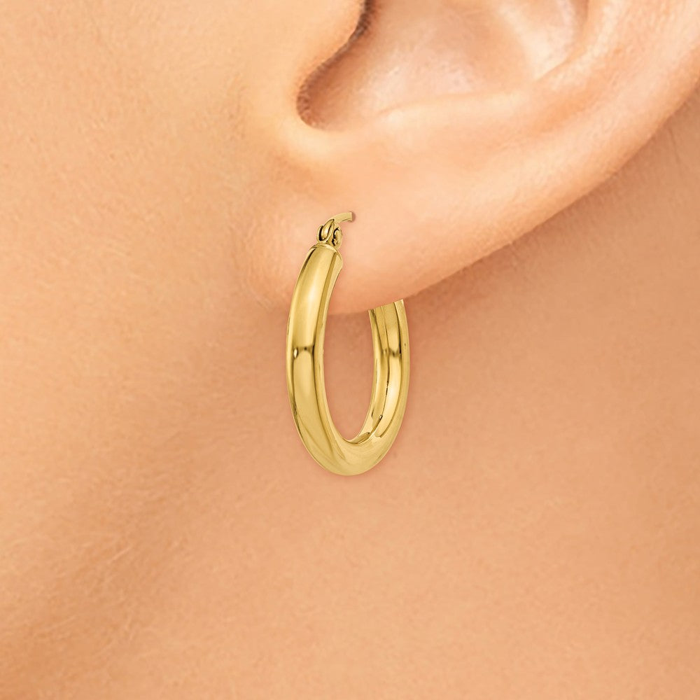 Alternate view of the 3mm, 14k Yellow Gold Classic Round Hoop Earrings, 20mm (3/4 Inch) by The Black Bow Jewelry Co.