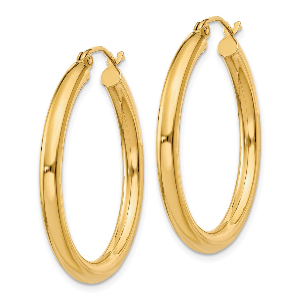 Alternate view of the 3mm, 14k Yellow Gold Classic Round Hoop Earrings, 30mm (1 1/8 Inch) by The Black Bow Jewelry Co.