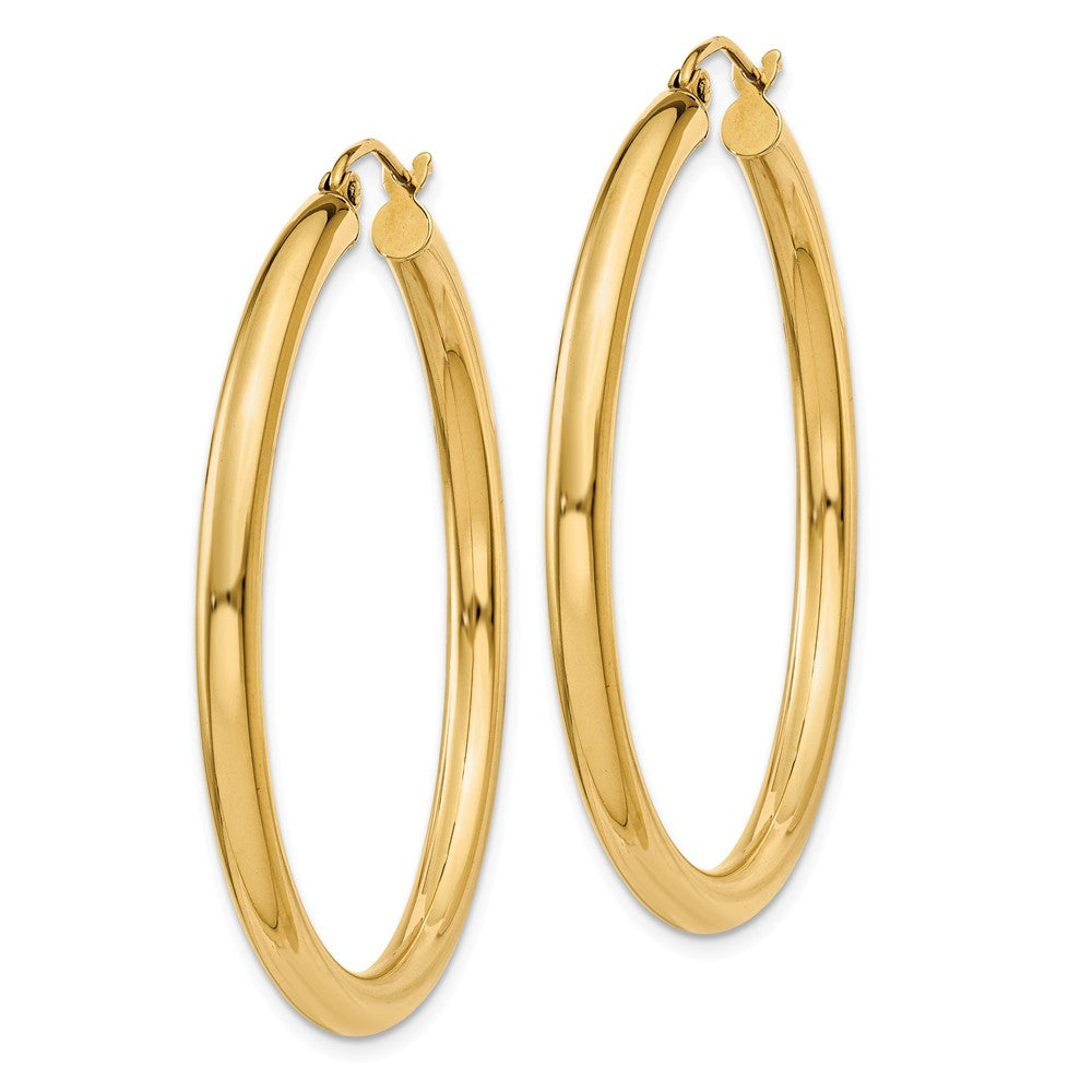 Alternate view of the 3mm, 14k Yellow Gold Classic Round Hoop Earrings, 40mm (1 1/2 Inch) by The Black Bow Jewelry Co.
