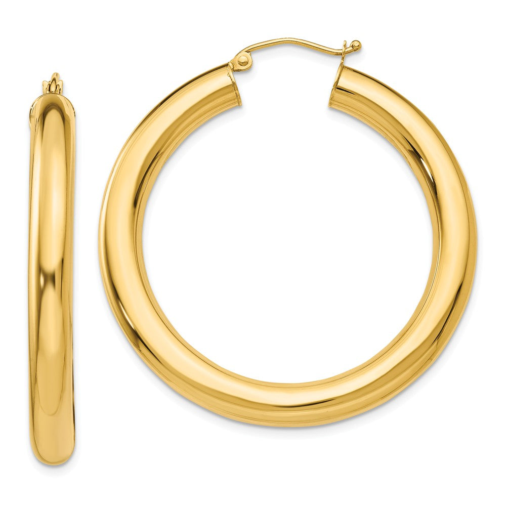 5mm, 14k Yellow Gold Classic Round Hoop Earrings, 40mm (1 1/2 Inch), Item E9406-40 by The Black Bow Jewelry Co.