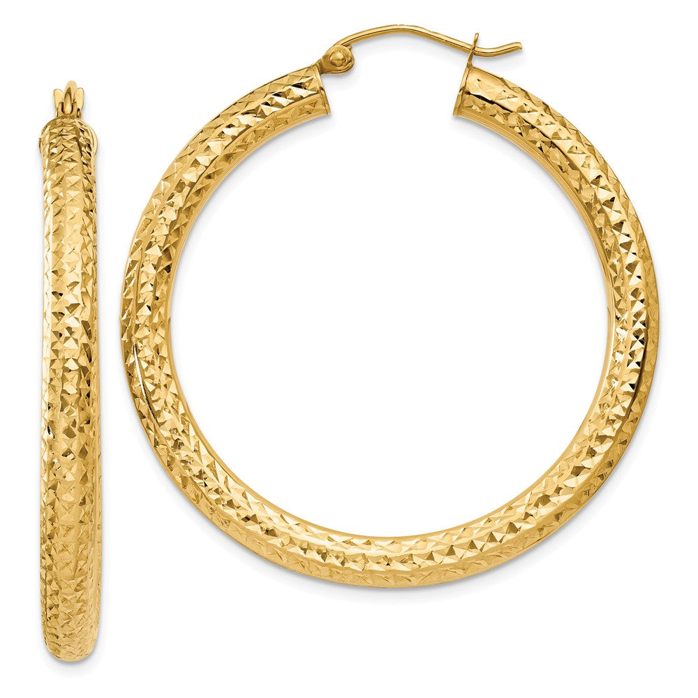 4mm, 14k Yellow Gold Diamond-cut Hoops, 40mm (1 1/2 Inch), Item E9408-40 by The Black Bow Jewelry Co.