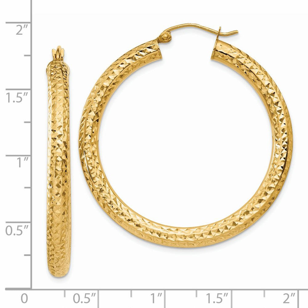 Alternate view of the 4mm, 14k Yellow Gold Diamond-cut Hoops, 40mm (1 1/2 Inch) by The Black Bow Jewelry Co.