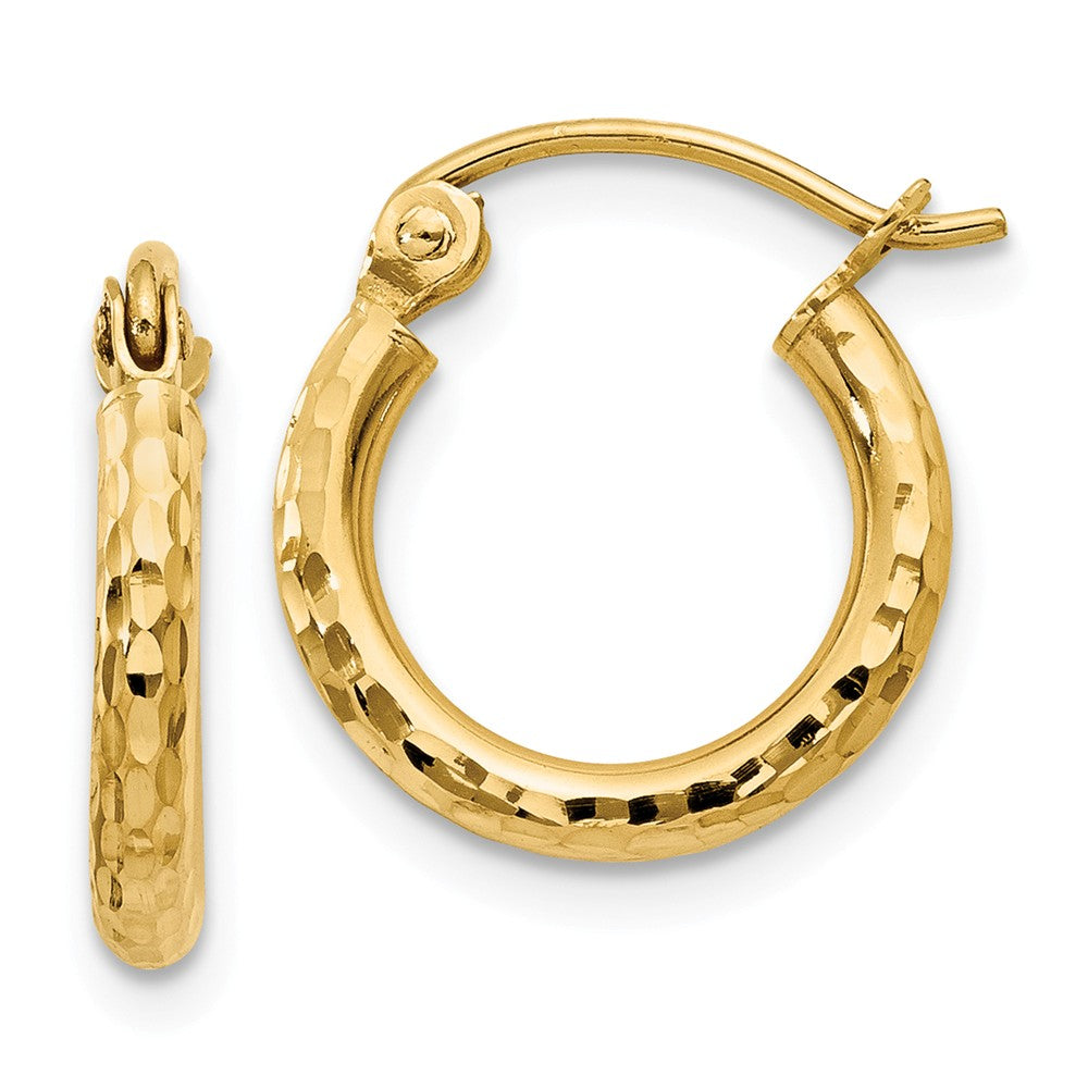 2mm, 14k Yellow Gold Diamond-cut Hoops, 13mm (1/2 Inch), Item E9410-13 by The Black Bow Jewelry Co.