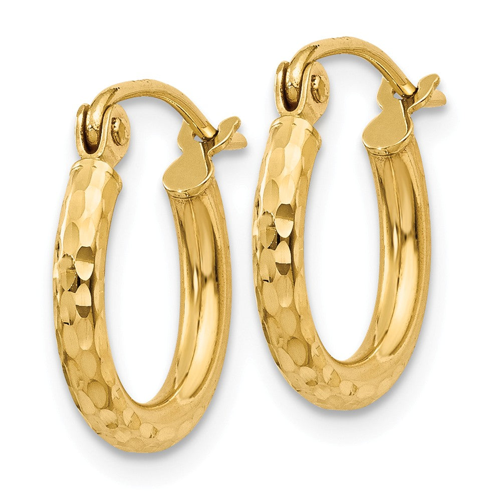Alternate view of the 2mm, 14k Yellow Gold Diamond-cut Hoops, 13mm (1/2 Inch) by The Black Bow Jewelry Co.