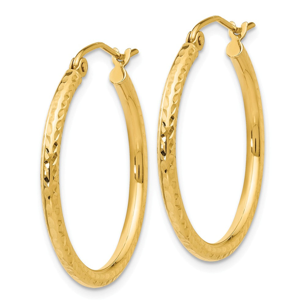 Alternate view of the 2mm, 14k Yellow Gold Diamond-cut Hoops, 25mm (1 Inch) by The Black Bow Jewelry Co.