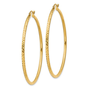 Alternate view of the 2mm, 14k Yellow Gold Diamond-cut Hoops, 50mm (1 7/8 Inch) by The Black Bow Jewelry Co.