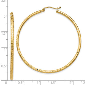 2mm, 14k Yellow Gold Diamond-cut Hoops, 50mm (1 7/8 Inch)