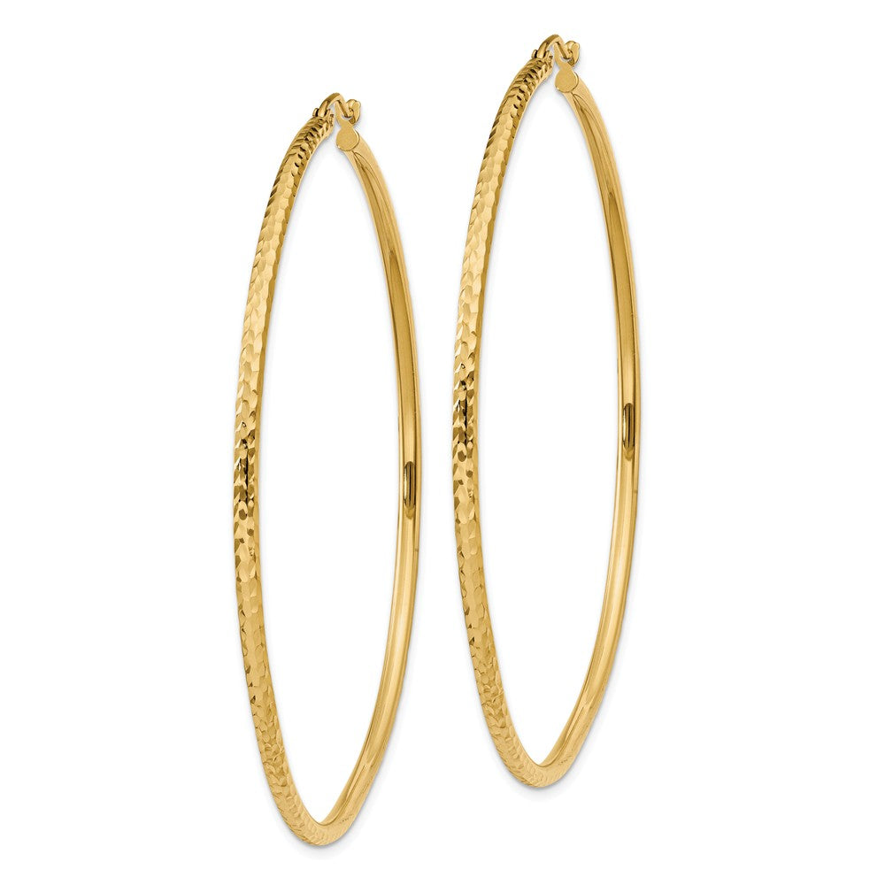 Alternate view of the 2mm, 14k Yellow Gold Diamond-cut Hoops, 60mm (2 3/8 Inch) by The Black Bow Jewelry Co.