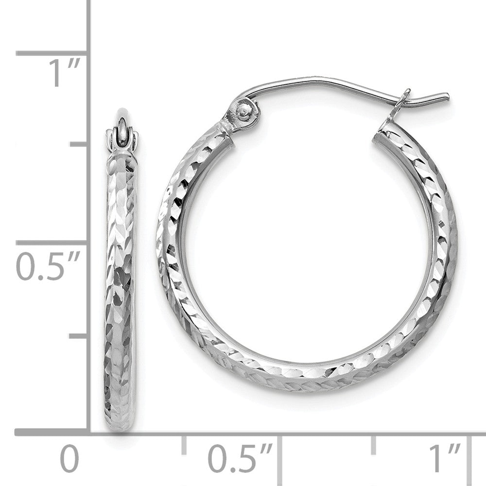 Alternate view of the 2mm, 14k White Gold Diamond-cut Hoops, 20mm (3/4 Inch) by The Black Bow Jewelry Co.