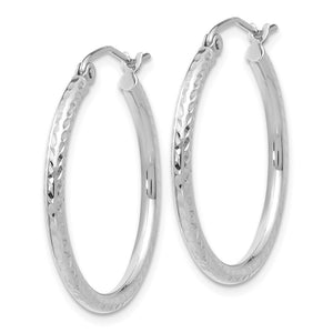 Alternate view of the 2mm, 14k White Gold Diamond-cut Hoops, 25mm (1 Inch) by The Black Bow Jewelry Co.