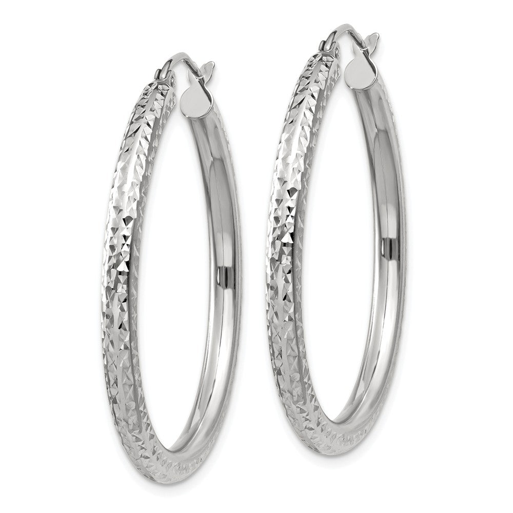 Alternate view of the 3mm, 14k White Gold Diamond-cut Hoops, 35mm (1 3/8 Inch) by The Black Bow Jewelry Co.