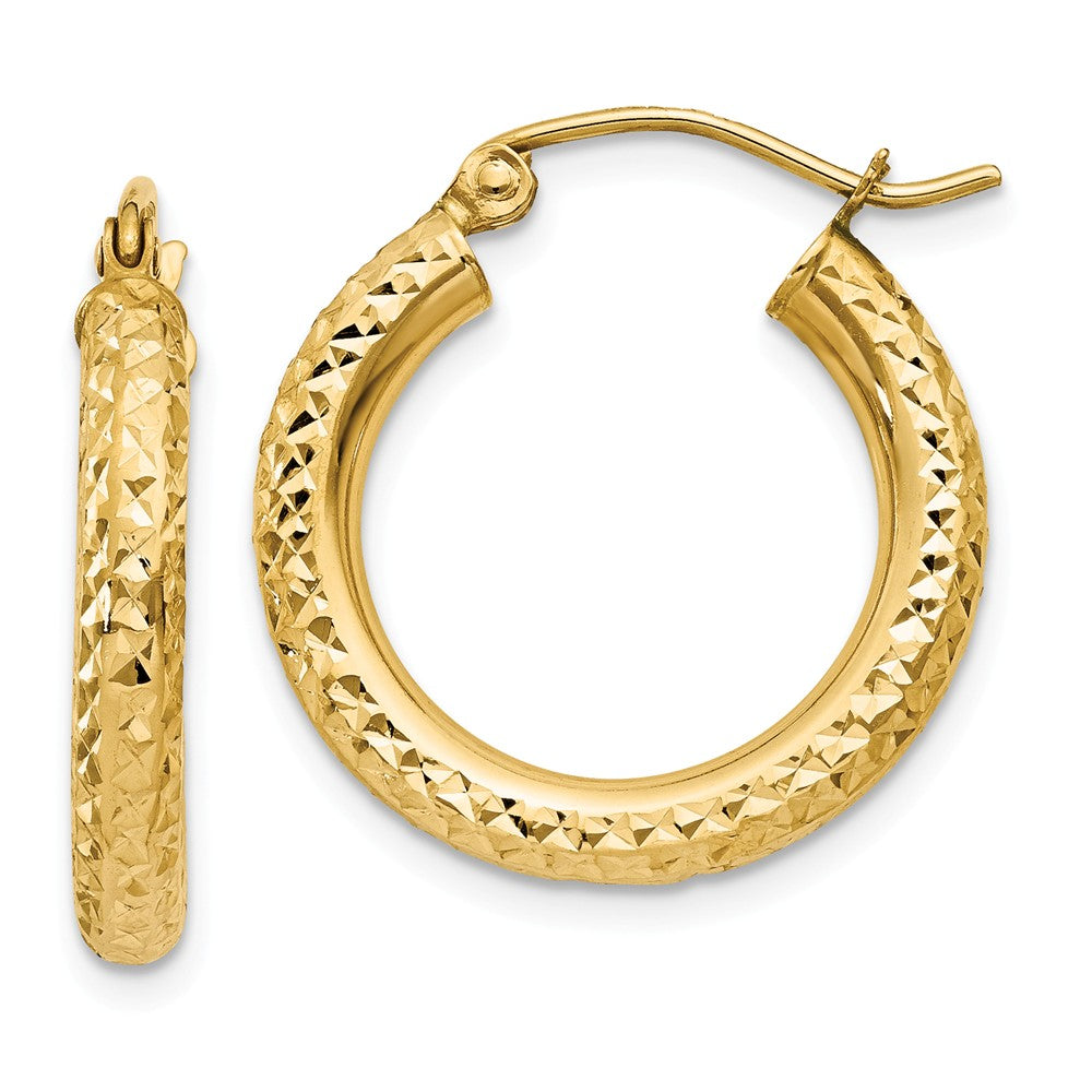 3mm, 14k Yellow Gold Diamond-cut Hoops, 20mm (3/4 Inch), Item E9418-20 by The Black Bow Jewelry Co.