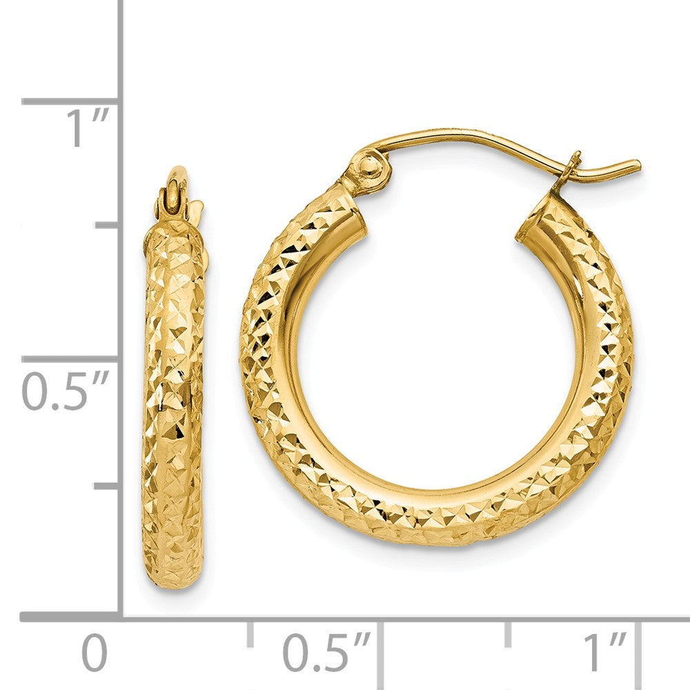 Alternate view of the 3mm, 14k Yellow Gold Diamond-cut Hoops, 20mm (3/4 Inch) by The Black Bow Jewelry Co.
