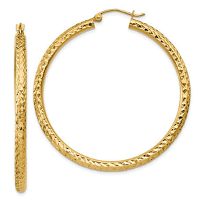 3mm, 14k Yellow Gold Diamond-cut Hoops, 45mm (1 3/4 Inch) - The Black Bow Jewelry Co.