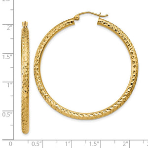 Alternate view of the 3mm, 14k Yellow Gold Diamond-cut Hoops, 45mm (1 3/4 Inch) by The Black Bow Jewelry Co.