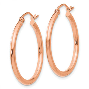 Alternate view of the 2mm, 14k Rose Gold Polished Round Hoop Earrings, 25mm (1 Inch) by The Black Bow Jewelry Co.