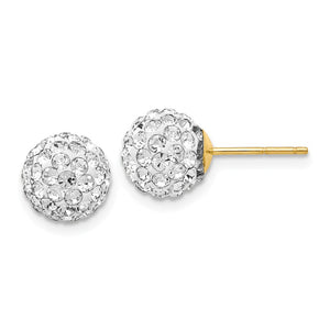 8mm Crystal Ball Earrings with a 14k Yellow Gold Post - The Black Bow Jewelry Co.