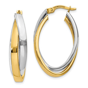 Crossover Oval Hoop Earrings in 14k Two-tone Gold - The Black Bow Jewelry Co.
