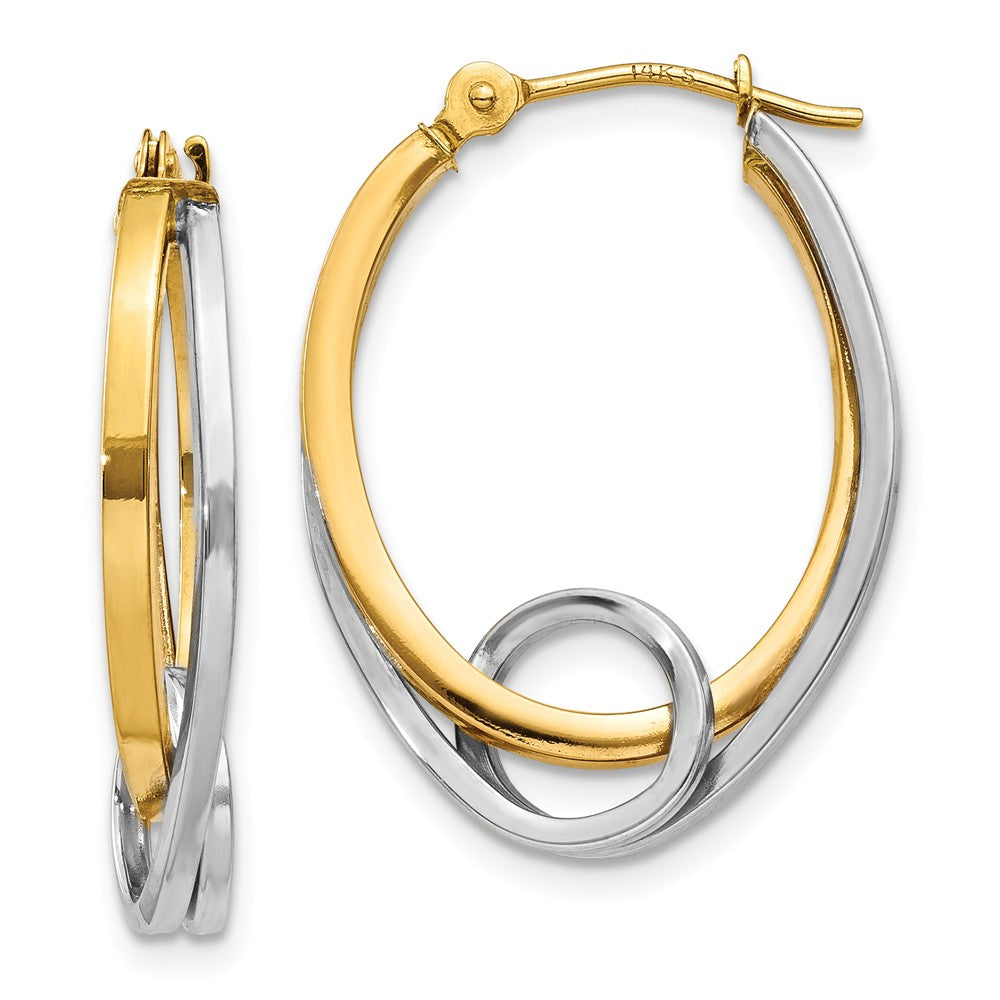 Double Oval Hoops with a Loop in 14k Two-tone Gold, Item E9471 by The Black Bow Jewelry Co.
