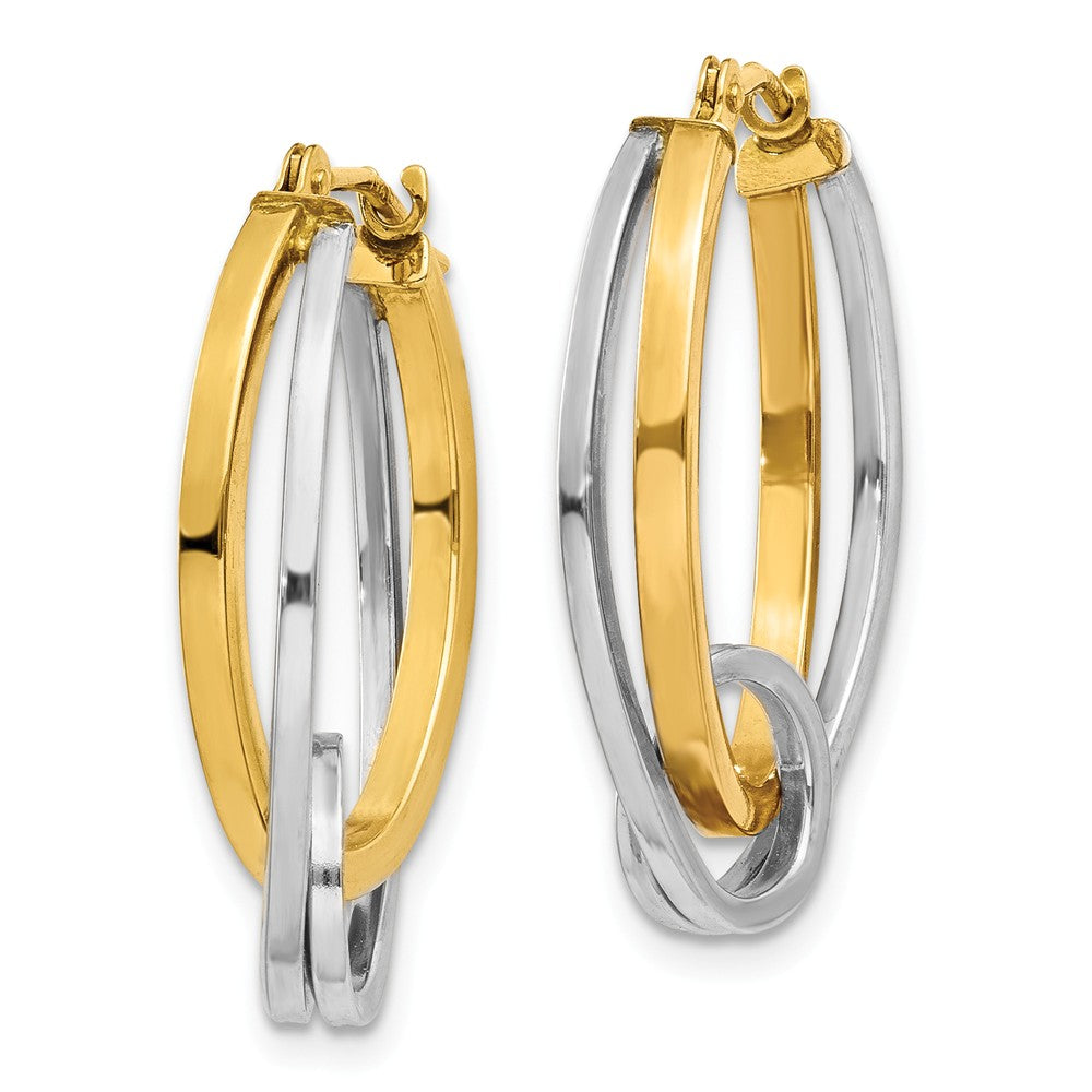 Alternate view of the Double Oval Hoops with a Loop in 14k Two-tone Gold by The Black Bow Jewelry Co.