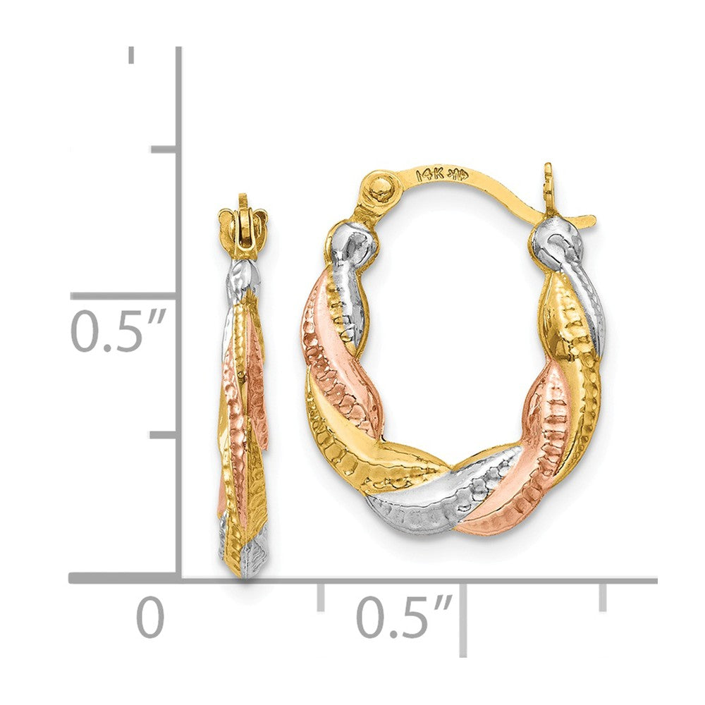 Alternate view of the Tri-Color Twisted Hoops in 14k Yellow Gold with White and Rose Rhodium by The Black Bow Jewelry Co.