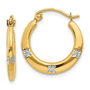 Floral Round Hoop Earrings in 14k Yellow Gold and Rhodium - The Black Bow Jewelry Co.