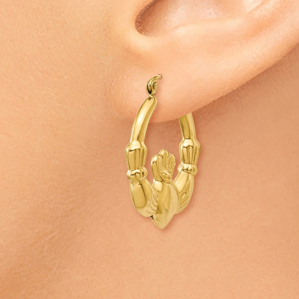 Alternate view of the Polished Claddagh Hoop Earrings in 14k Yellow Gold, 25mm by The Black Bow Jewelry Co.