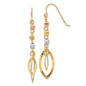 Tri-Color Bead and Marquise Shaped Dangle Earrings in 14k Gold - The Black Bow Jewelry Co.