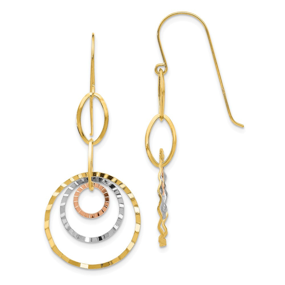 Tri-color Wavy Circle Dangle Earrings in 14k Gold, Item E9596 by The Black Bow Jewelry Co.