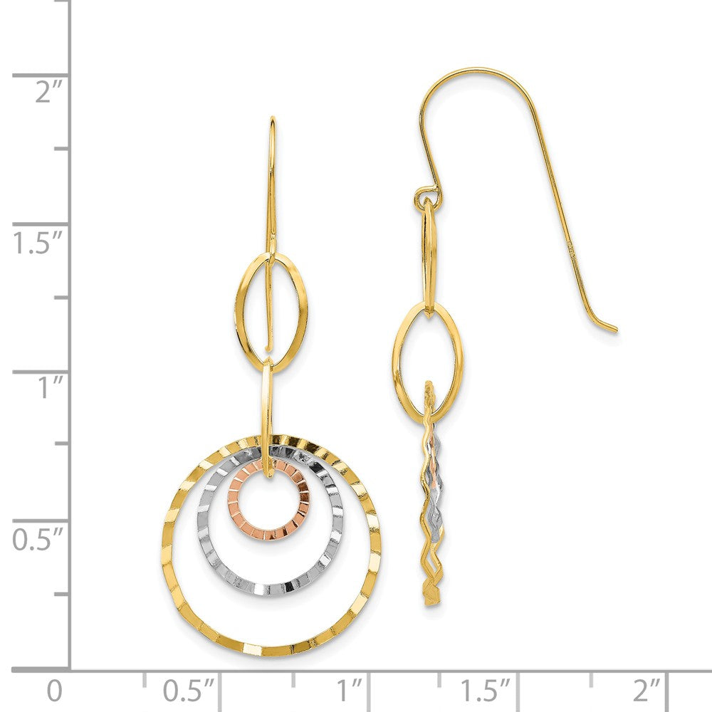 Alternate view of the Tri-color Wavy Circle Dangle Earrings in 14k Gold by The Black Bow Jewelry Co.