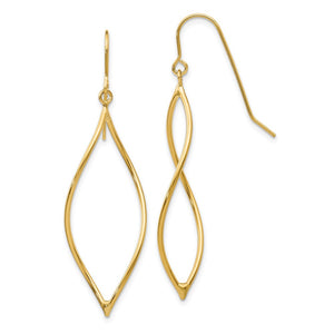 14k Yellow Gold Twisted Oblong Dangle Earrings - The Black Bow Jewelry Co.