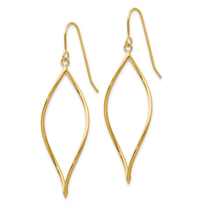 Alternate view of the 14k Yellow Gold Twisted Oblong Dangle Earrings by The Black Bow Jewelry Co.