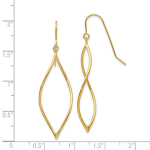14k Yellow Gold Twisted Oblong Dangle Earrings