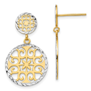 2-tone Diamond-cut Circle Drop Earrings in 14k Yellow Gold and Rhodium - The Black Bow Jewelry Co.