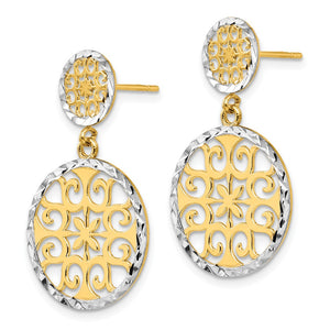 Alternate view of the 2-tone Diamond-cut Circle Drop Earrings in 14k Yellow Gold and Rhodium by The Black Bow Jewelry Co.