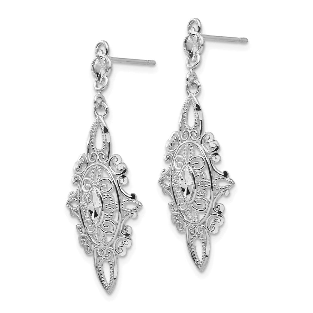 Alternate view of the Vintage Style Dangle Earrings in 14k White Gold by The Black Bow Jewelry Co.