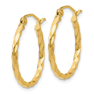 Alternate view of the 2mm, Twisted 14k Yellow Gold Round Hoop Earrings, 20mm (3/4 Inch) by The Black Bow Jewelry Co.