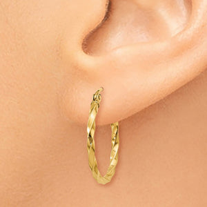 2mm, Twisted 14k Yellow Gold Round Hoop Earrings, 20mm (3/4 Inch)