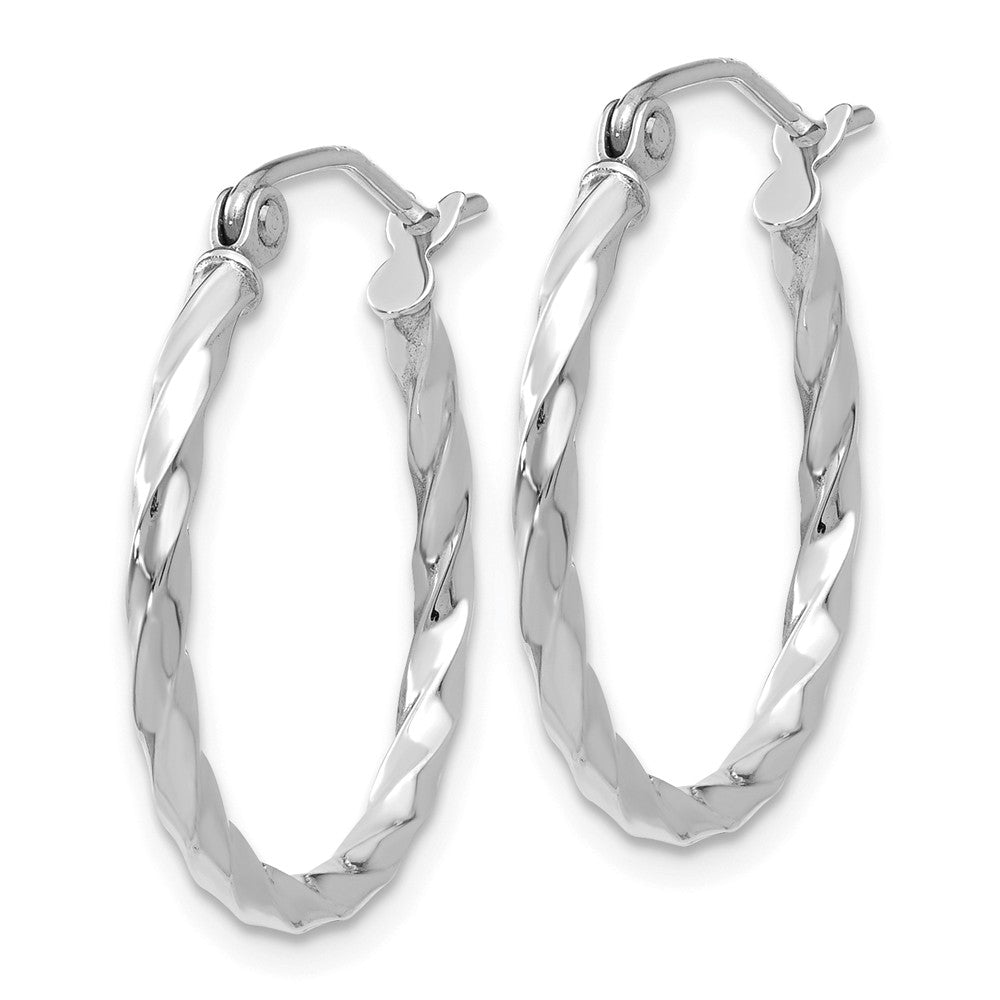 Alternate view of the 2mm, Twisted 14k White Gold Round Hoop Earrings, 20mm (3/4 Inch) by The Black Bow Jewelry Co.