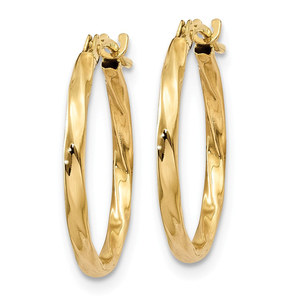 Alternate view of the 1.5mm, 14k Yellow Gold Twisted Round Hoop Earrings, 15mm (9/16 Inch) by The Black Bow Jewelry Co.