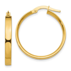 3mm, 14k Yellow Gold Polished Round Hoop Earrings, 22mm (7/8 Inch) - The Black Bow Jewelry Co.